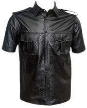 Epaulette-Styled-Short-Sleeved-Men-Leather-Shirt
