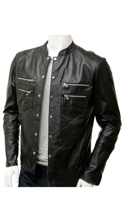Stylishly Detailed Mens Leather Shirt