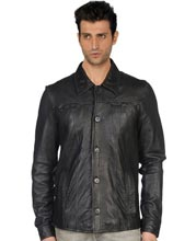 Square Neck lined Leather Shirt for Men