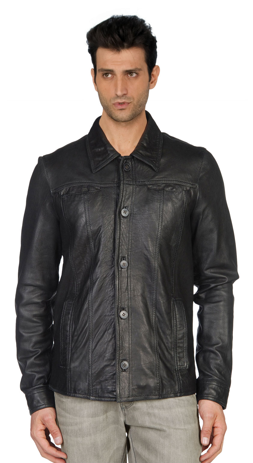 Buy square neck lined mens leather shirts online