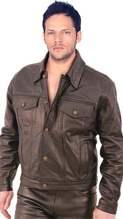 Button Cuffed and Denim Styled Mens Leather Shirt