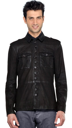 Awe Inspiring Military Style Suede Leather Shirt