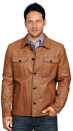 Leather Shirt with Trendy Button Flaps and Closure