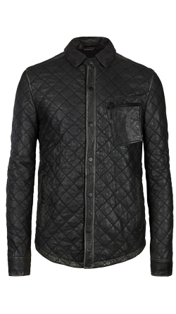 Quilted Style Leather Shirt