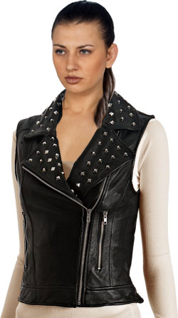 Comely Studded and Classy Women Leather Vests