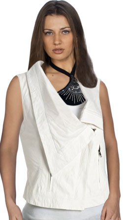 Wide Collared Womens Leather Vest