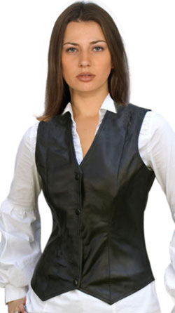 Women'S Sexy Brown Leather Vest 113