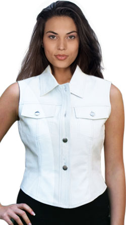 Wide Collar and Front Pocket Womens Leather Vest