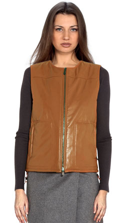 Padded Straight Fit Leather Vest