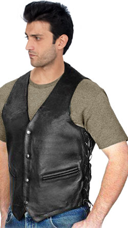 Side-Knot Corset-Style Leather Vest for Men