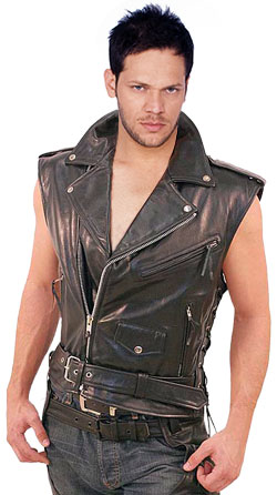 Asymmetrical-Style Leather Vest for Men