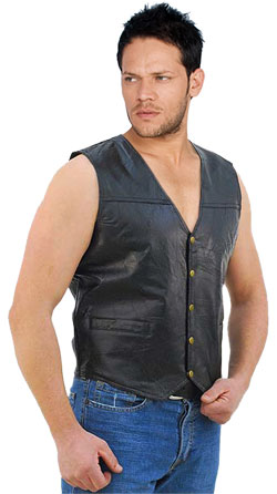 Cocktail style leather vest for men