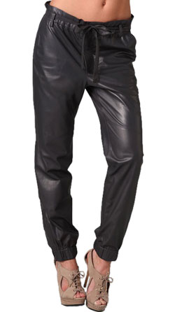 Elastic band Leather Pant for Women