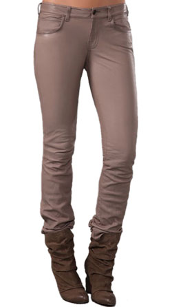 Skinny low rise leather pant for women