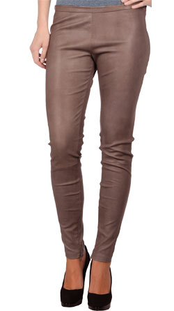 Plush, lissome leather pant for women