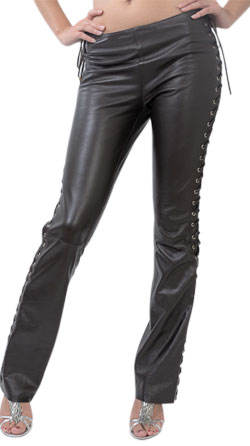 Pencil Fit Lace up Leather Pant for Women