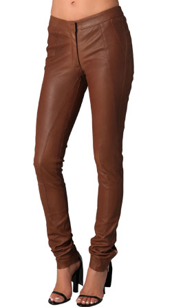 Skin Fit Formal Leather Pants for Women