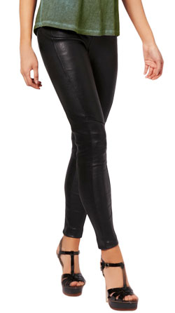 Classy skin tight leather pant with zipped ankle