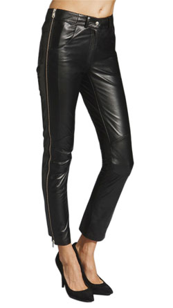 Side Zip Detailing Leather Pant