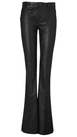 Chic Bell-Bottom Line Detailing Leather Pant