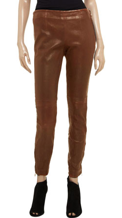 Pull Up Styled Smooth Finished Leather Pant