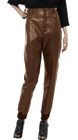 Chic Leather Pants with Ribbed-Knit Cuffs