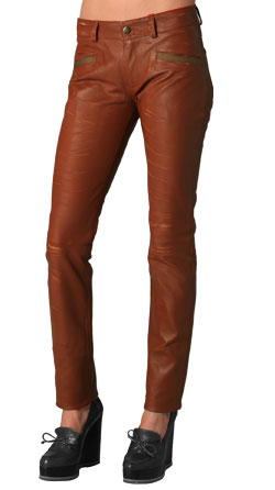 Hip Ankle Touch Leather Pants