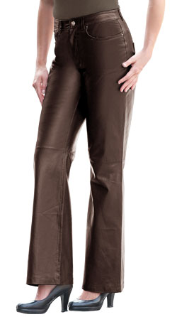 Formal Boot Cut Pattern Leather Pants
