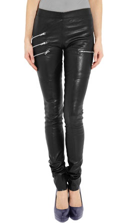 Triple Metallic Zipper Front Leather Pant