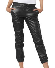 Elastic Hemline Casual Leather Pants for Women