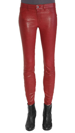 Cowboy Style Retro Ankle Length Leather Pants