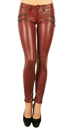 Pencil Fit Leather Pant with Crossed Zip Pouch
