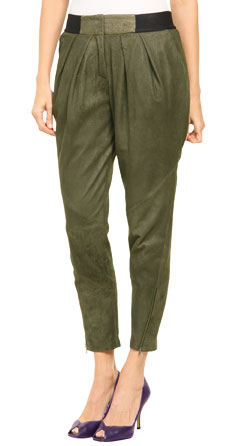 Leather Pant with Pleated Detailing Below the Waistline