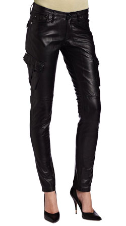 Leather Pant with Cargo Style Trendy Pockets