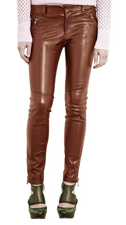 Dazzling Leather Pant With Slanted Zip Front Pouch