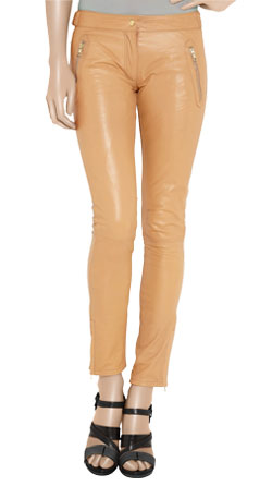 Mid- Rise Pencil Robust Leather Pants
