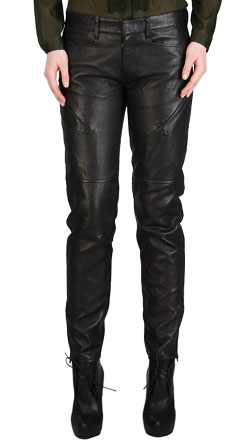 Straight Fit Motorcycle-Style Leather Pant