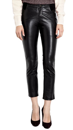 Stylish Tapered Ankle Lambskin Leather Trouser