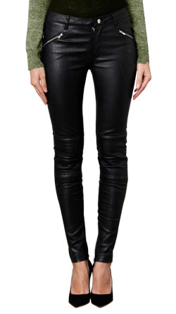 Ridged Knee Panel Leather Pant