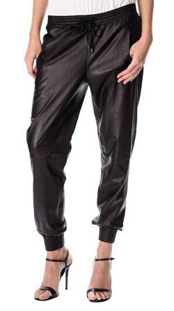 Baggy and Sporty Leather Pants