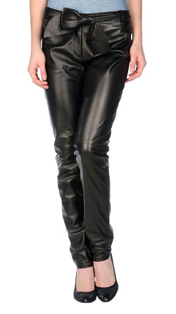 Fancy Leather Pant with Bow Detailing