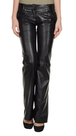 Casual Leather Pants with Wide Cuffs