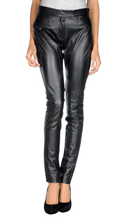 Slim Fit Leather Casual Pants