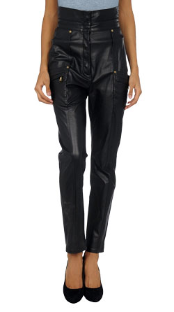 Hip Leather Pant with Multi-pockets