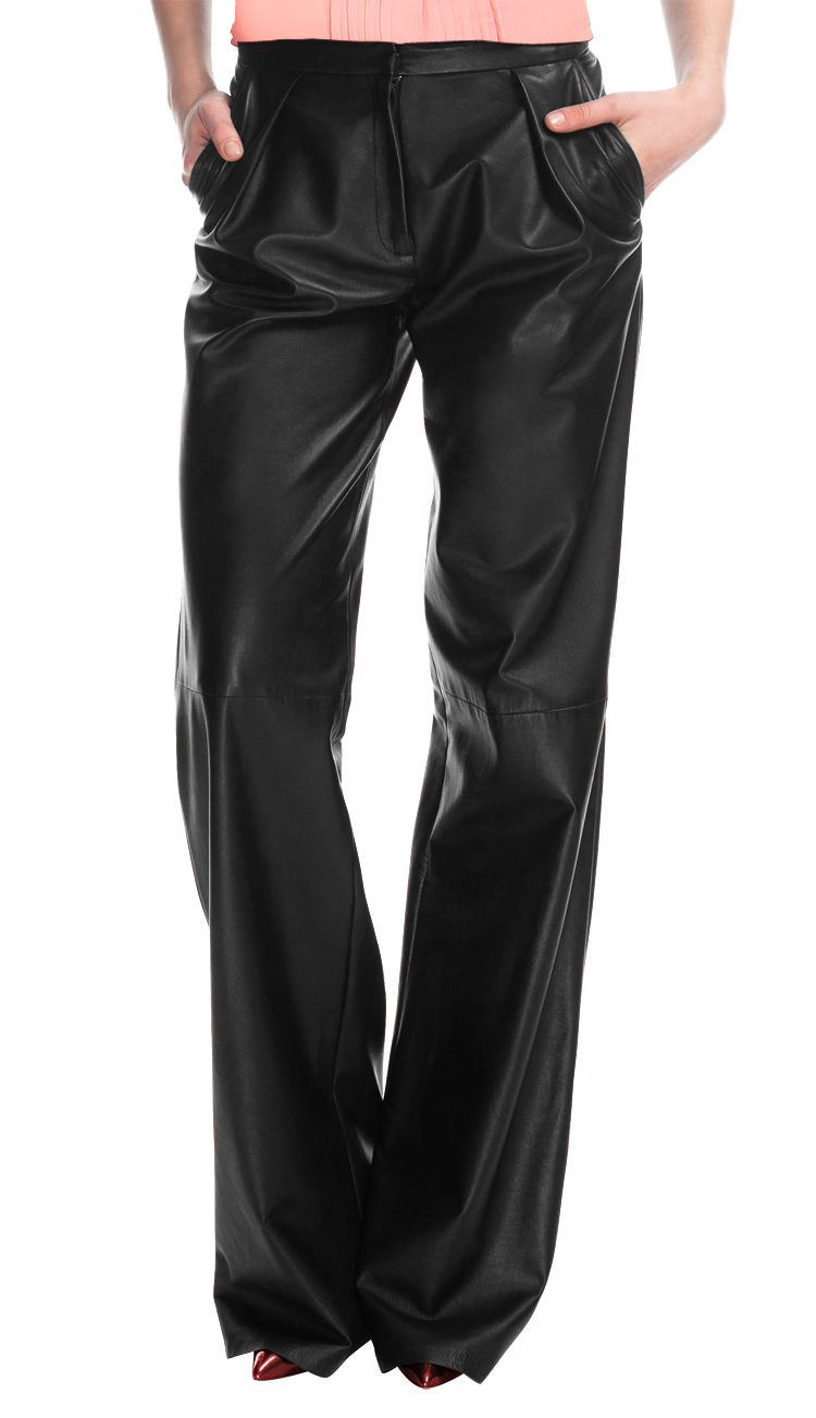 Shop for stylish wide leg womens leather pants online
