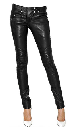 Womens Leather Biker Pants with Stitched Detailing