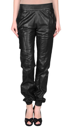 Womens Elasticized Waist Leather Trousers