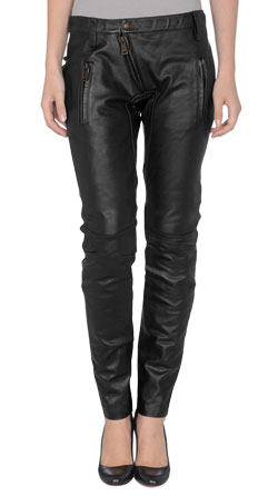 Snap-Buttoned Womens Leather Trousers