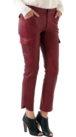 Split hem stylish leather pants