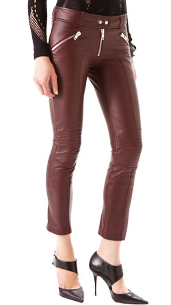 Modish Skinny Leather Pants with Ankle Zippers
